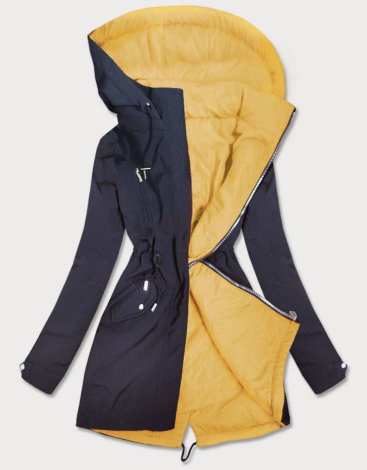Tmavo modro - žltá obojstranná dámska bunda parka s kapucňou (W354) żółty XXL (44)
