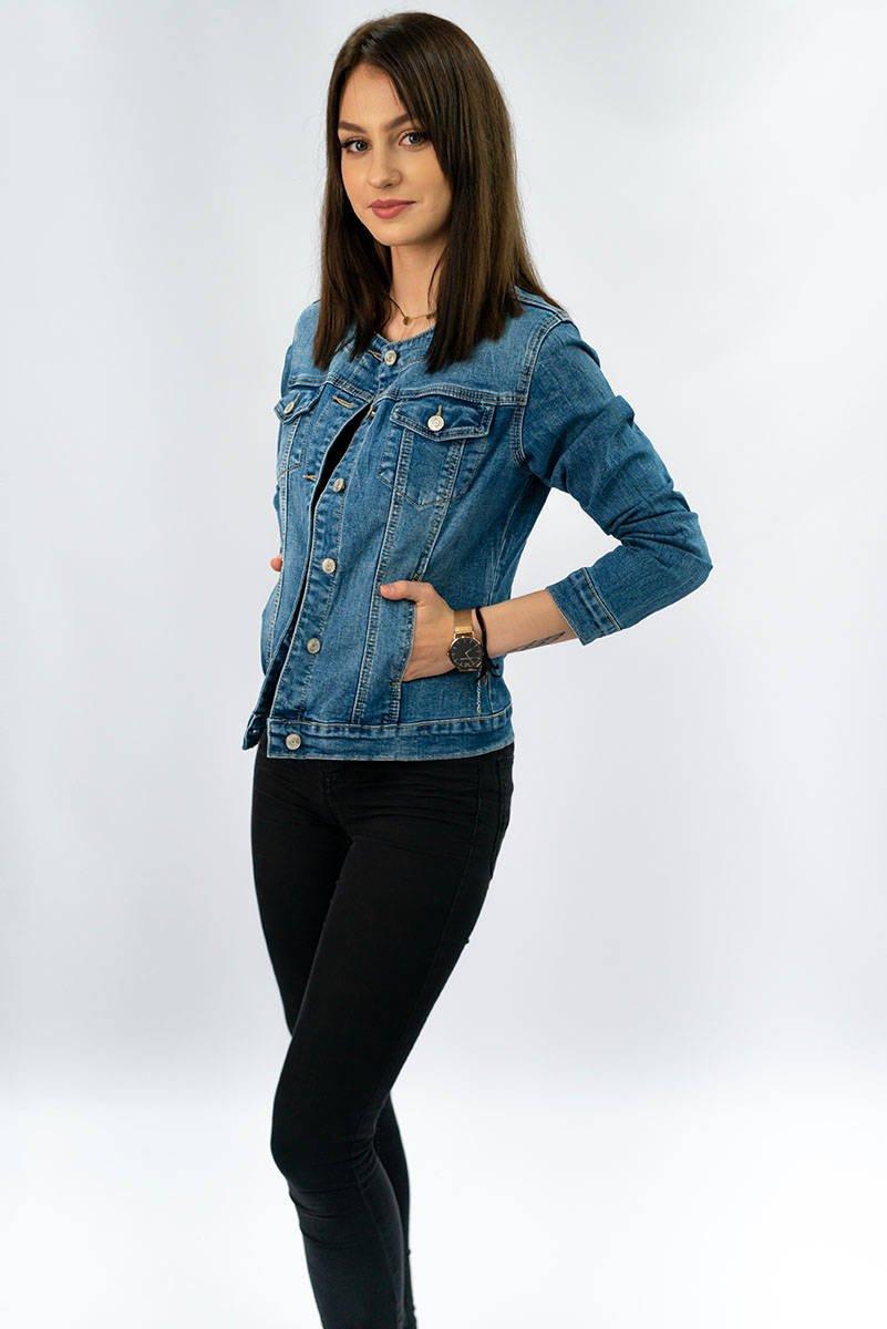 Krátká světle modrá džínová dámská bunda (M1202) modrý XL (42)