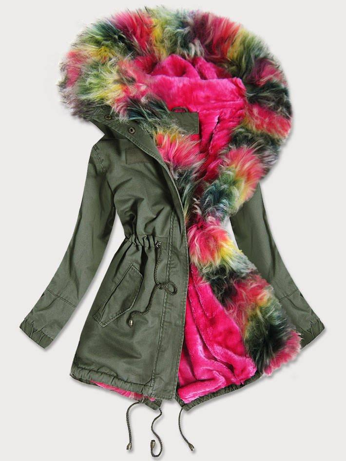 Dámská zimní bunda parka v khaki barvě s barevným kožíškem (D-216#) khaki M (38)