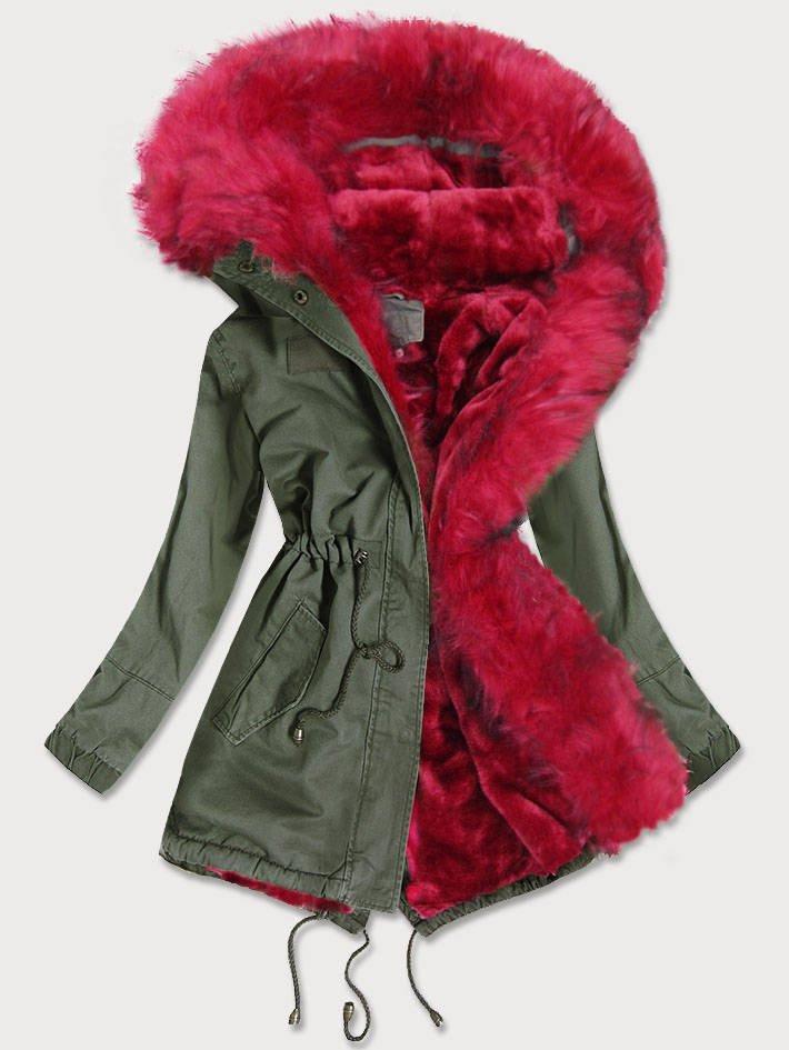 Khaki-červená dámská zimní bunda parka s barevným kožíškem (D-216#) červená M (38)