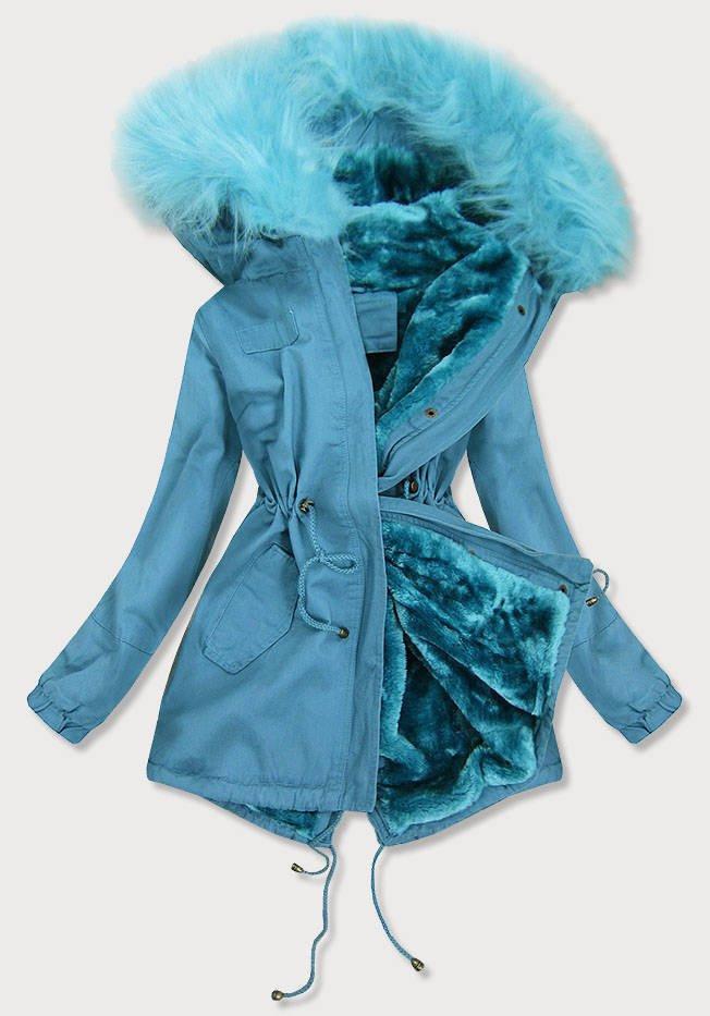Světle modrá dámská zimní bunda parka (D-213-5) modrá M (38)