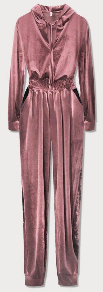 Dlouhý růžový velurový overal s kapucí (628ART) růžová ONE SIZE