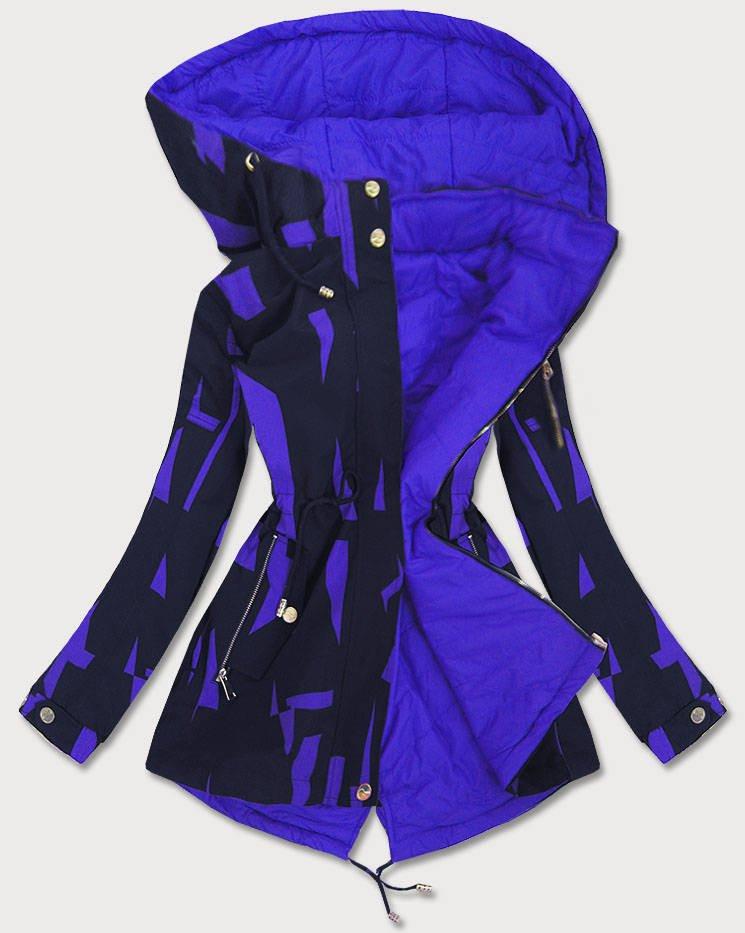 Obojstranná tmavo modro-svetlo modrá dámska bunda parka (W652) niebieski S (36)