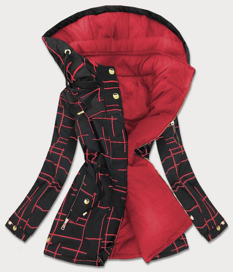 Čierno-červená obojstranná dámska bunda parka (W657) czerwony S (36)