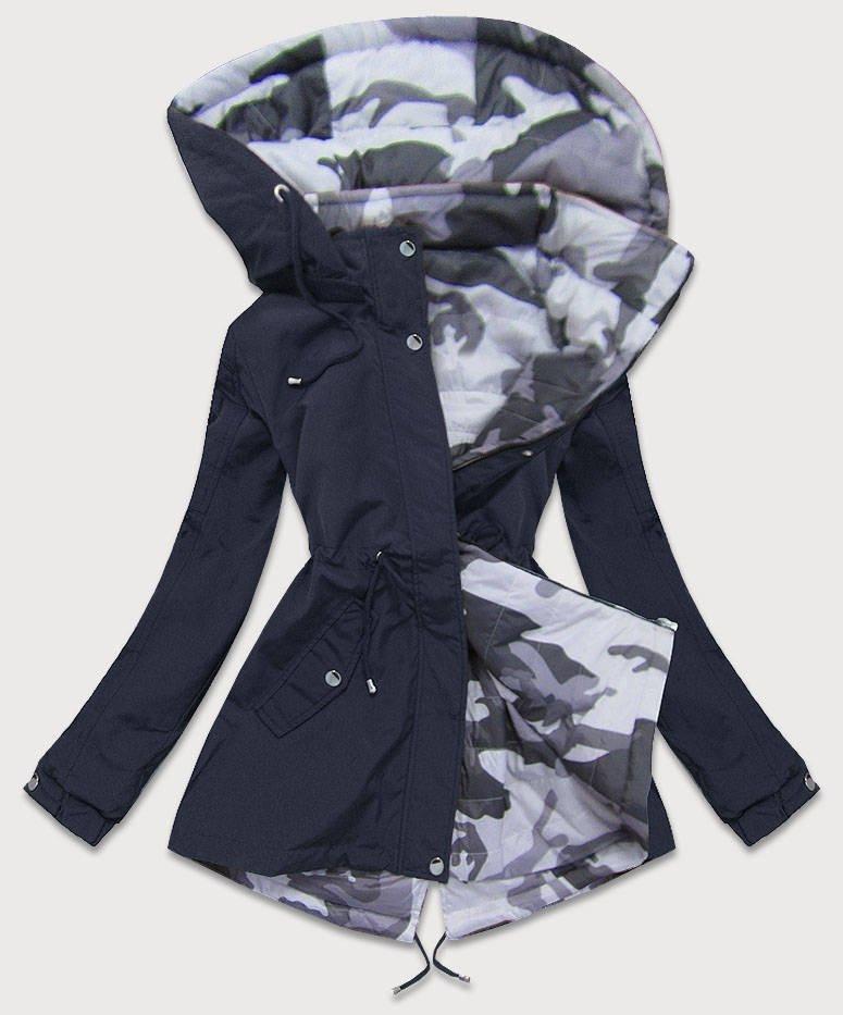 Obojstranná tmavo modrá-moro dámska bunda parka s kapucňou (XW665X) tmavěmodrá S (36)
