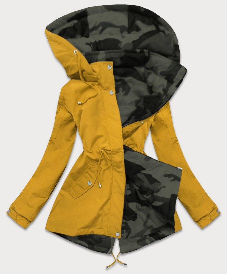 Obojstranná žlto-moro dámska bunda parka s kapucňou (XW665X) żółty XXL (44)