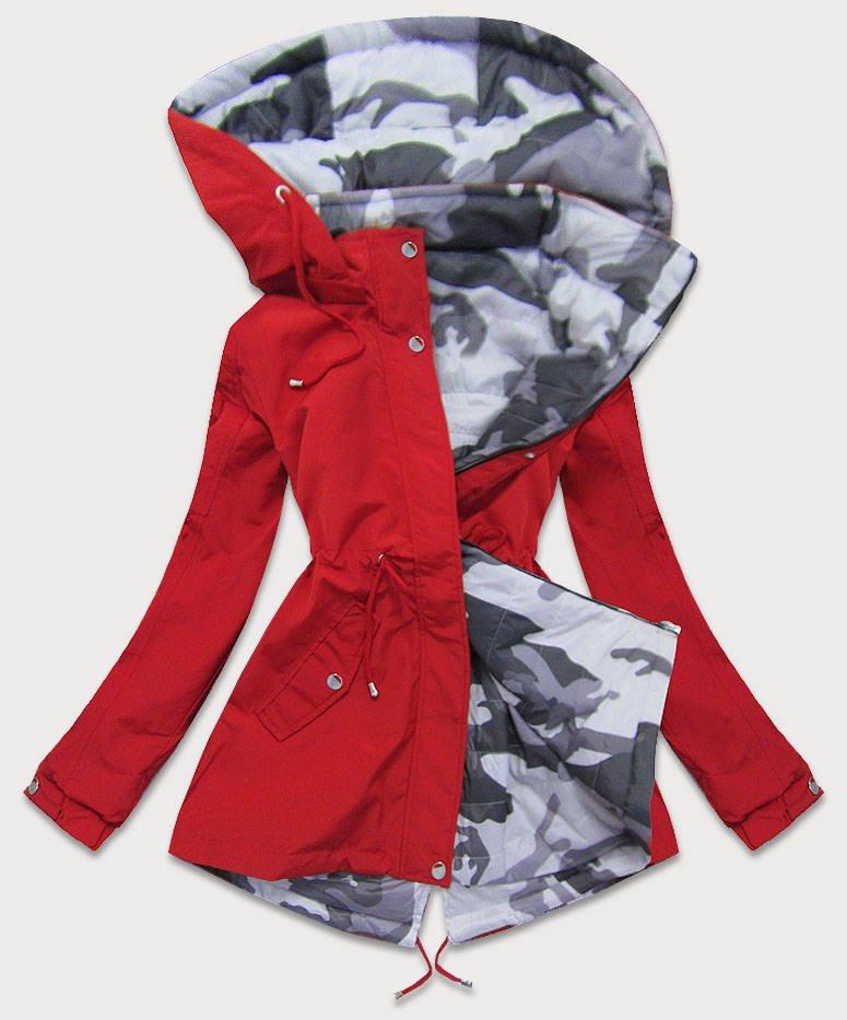 Obojstranná červená-moro dámska bunda parka s kapucňou (XW665X) czerwony XXL (44)