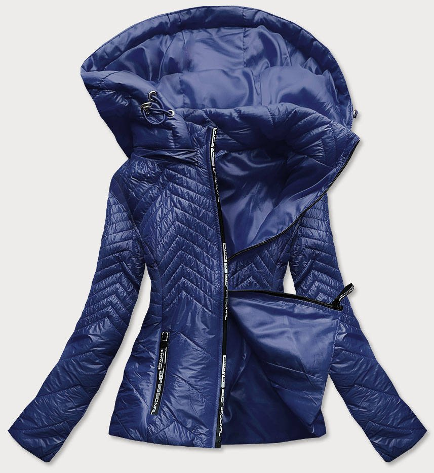 Tmavo modrá krátka dámska prešívaná bunda s kapucňou (B9566) tmavěmodrá L (40)