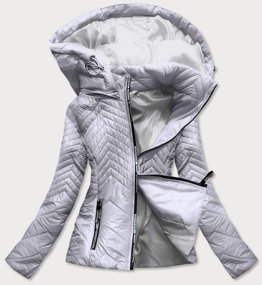 Krátka šedá prešívaná dámska bunda s kapucňou (B9566) šedá M (38)