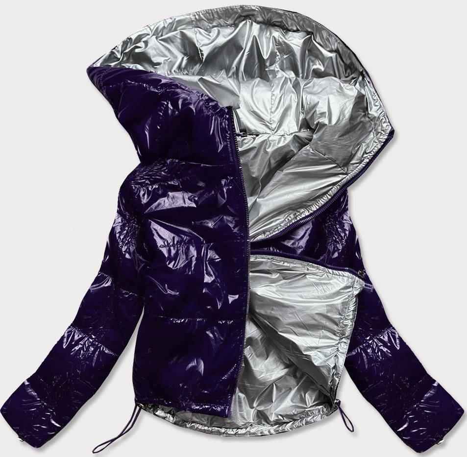 Tmavo modrá lesklá prešívaná dámska bunda s kapucňou (B9560) tmavěmodrá L (40)