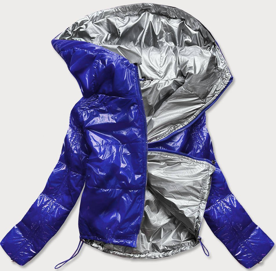 Svetlo modrá lesklá prešívaná dámska bunda s kapucňou (B9560) modrý L (40)