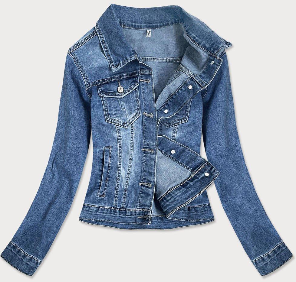 Světle modrá krátká dámská džínová bunda (X-758) modrý S (36)