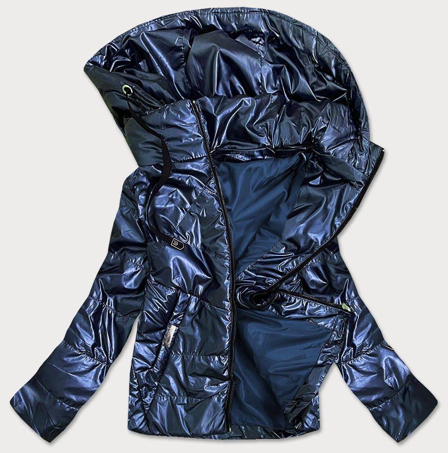 Tmavo modrá lesklá dámska bunda s kapucňou (B9575) tmavěmodrá 46