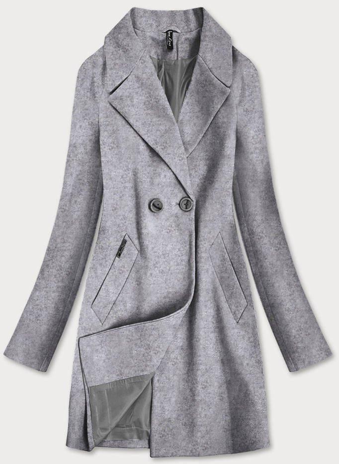 Šedý dvojradový dámsky kabát (2721) šedá XXL (44)