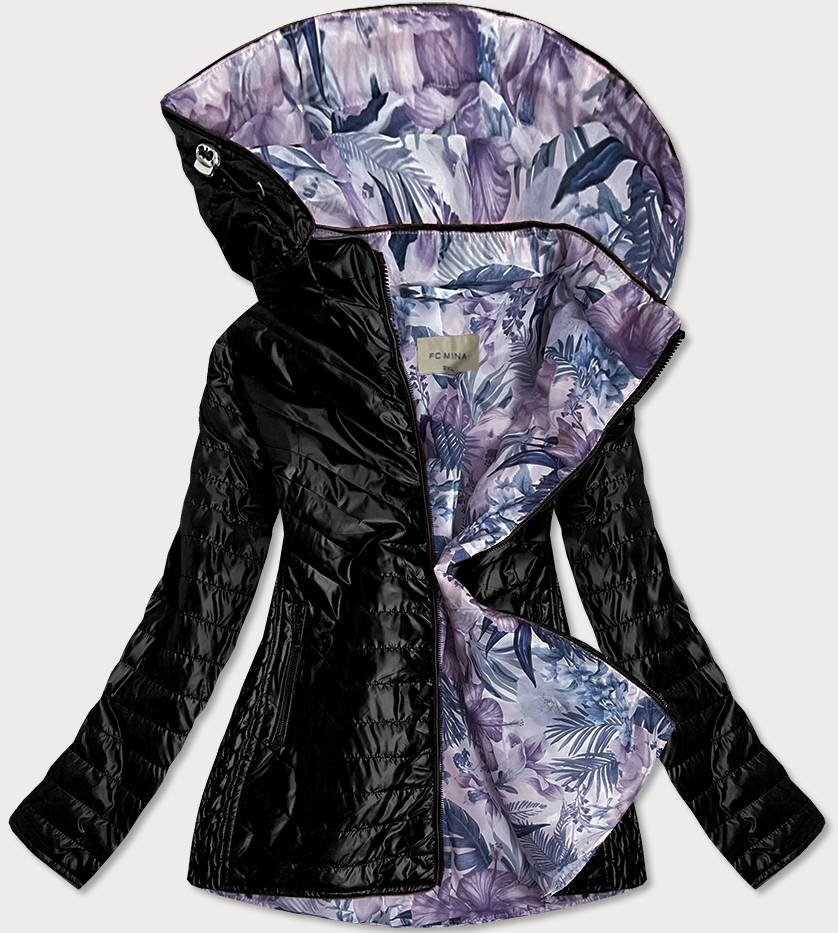 Čierna dámska bunda s ozdobnou podšívkou (MM21) vícebarevná 50