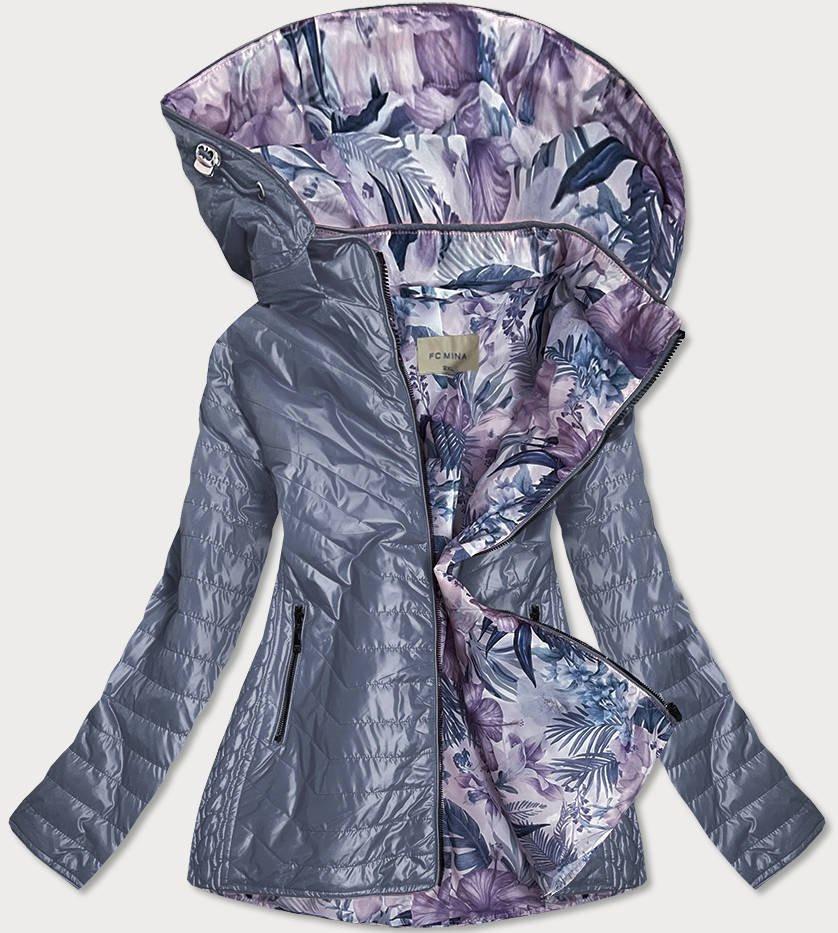 Šedá dámska bunda s ozdobnou podšívkou (MM21) viacfarebný 46