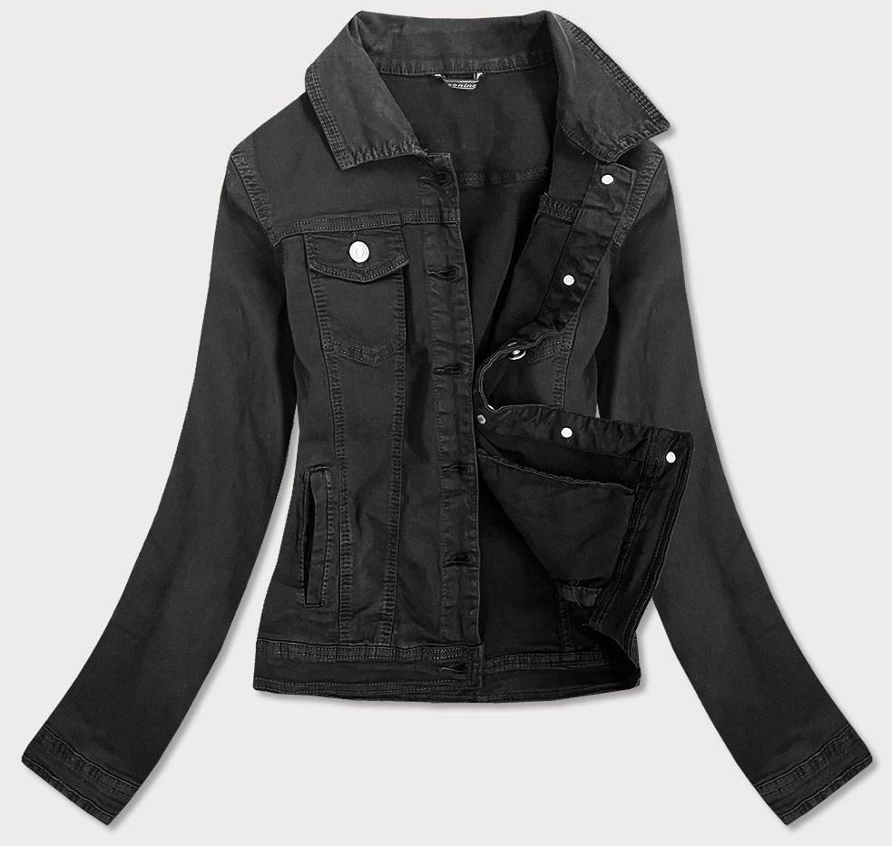 Vypasovaná čierna dámska džínsová bunda (F2331) čierna XS (34)