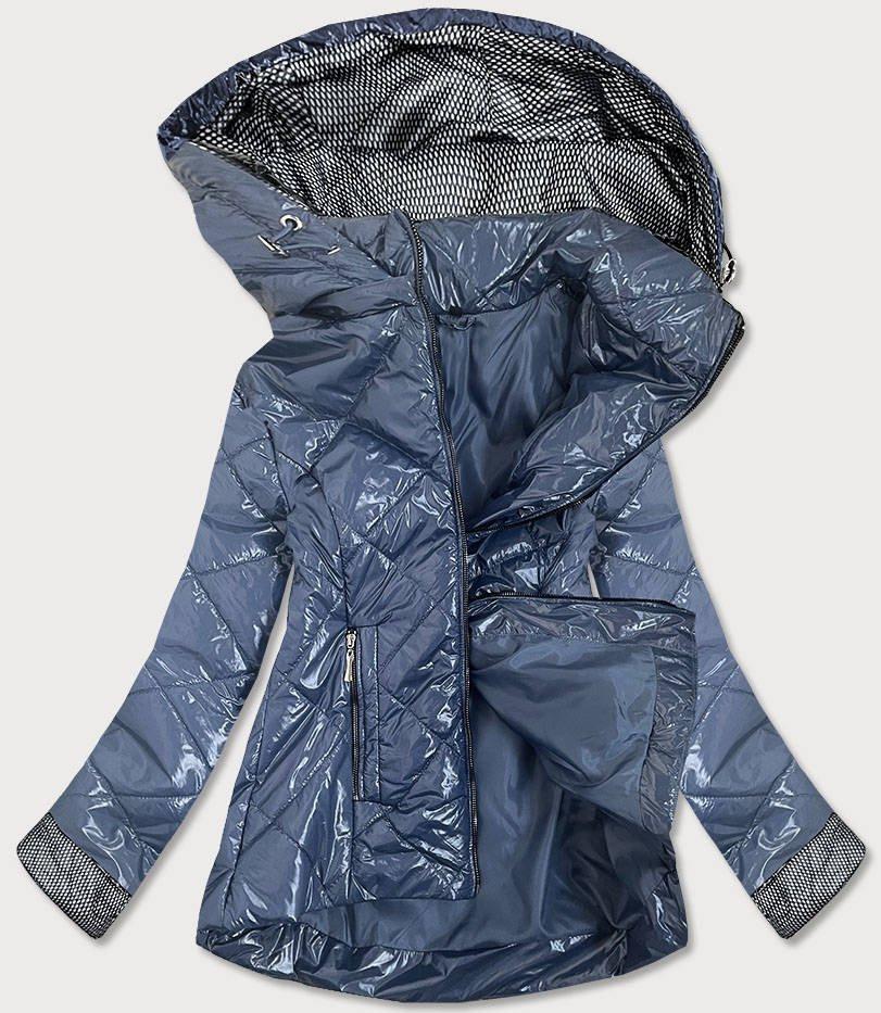 Svetlo modrá lesklá dámska prešívaná bunda (B9573) modrý 46
