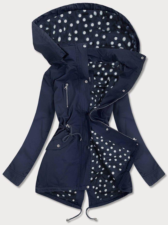 Tmavo modrá bavlnená dámska bunda parka (5559) tmavěmodrá XL (42)