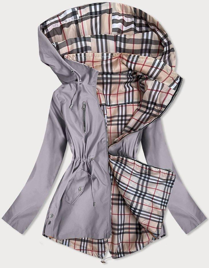 Šedá dámska bunda s károvaným vzorom Burberry (MM88) brązowy 50