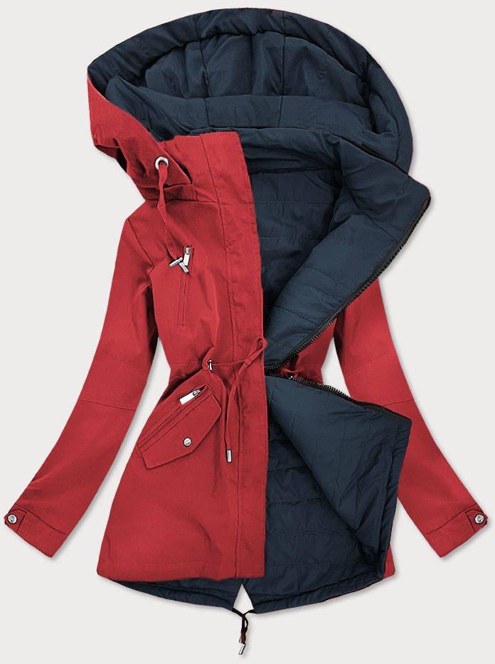 Červeno-tmavo modrá obojstranná dámska bunda (W505) červené XL (42)