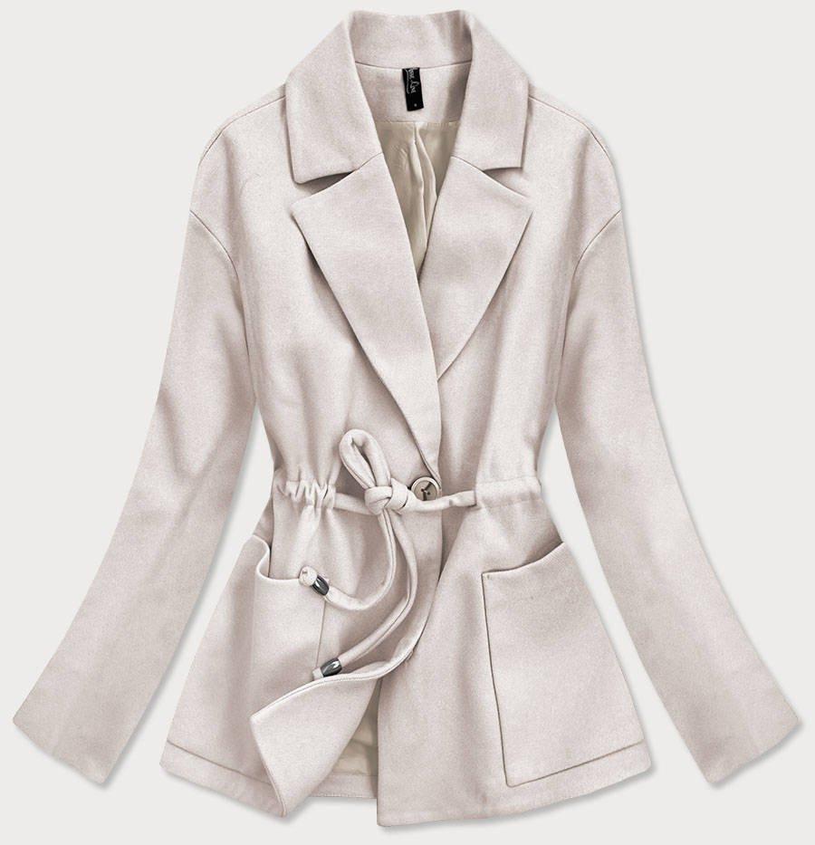Voľný dámsky krátky kabát vo farbe ecru (2727) okrová S (36)