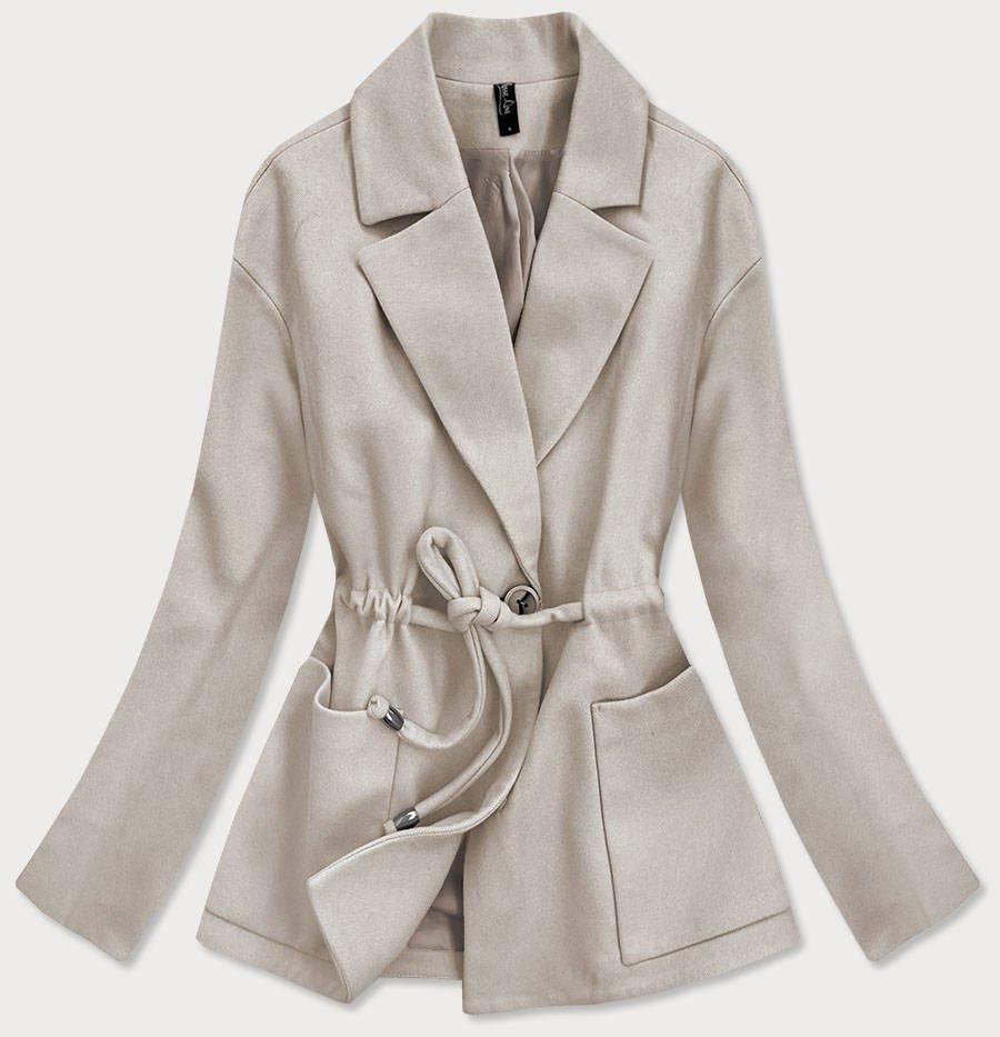Voľný béžový krátky dámsky kabát (2727) béžová S (36)