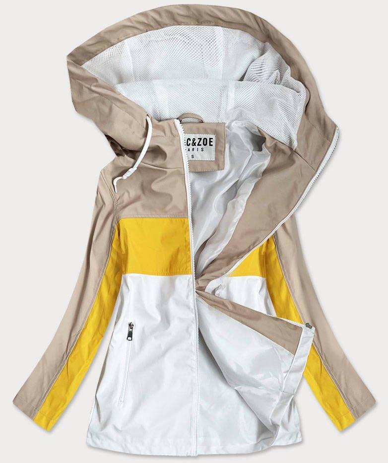 Béžovo-žlutá dámská bunda větrovka s kapucí (YR1968) Žlutá M (38)