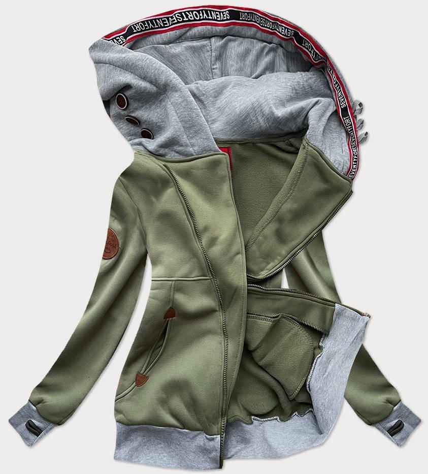 Dlouhá dámská mikina v khaki barvě s asymetrickým zipem (560) khaki L (40)