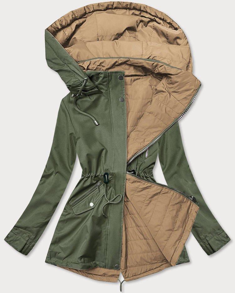 Khaki-béžová dámska obojstranná bunda (BH2016) béžová M (38)