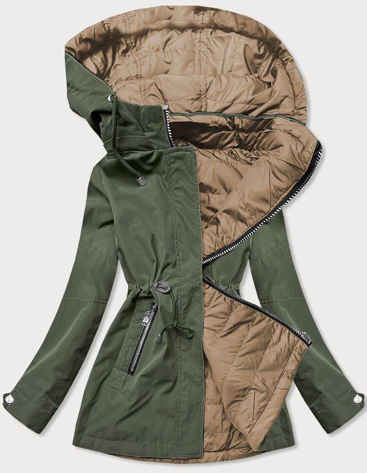 Khaki-béžová dámska bunda parka 2v1 (BH2015) béžová M (38)