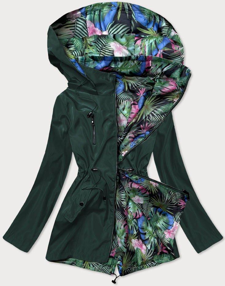 Dámska bunda 2v1 s kapucňou - lahvově zelená / listy (SS68) zelený 48