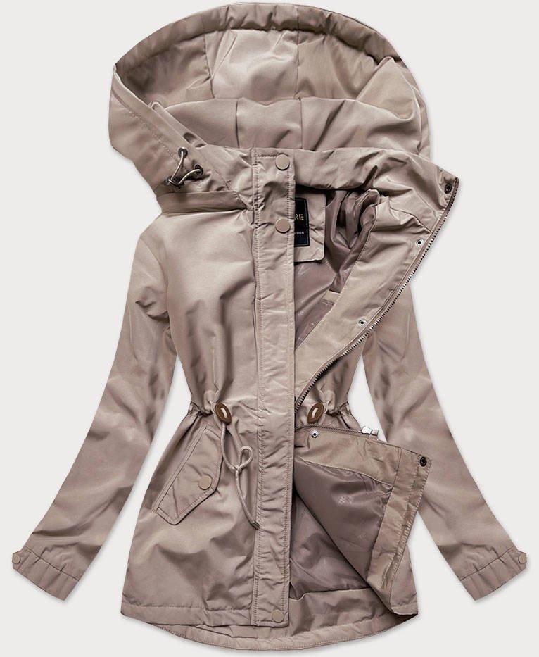 Béžová dámska bunda parka s kapucňou (6364) béžová M (38)