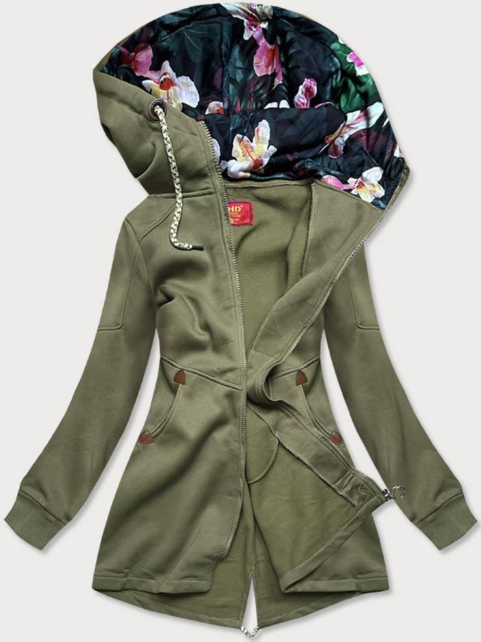 Dlouhá dámská mikina v khaki barvě s kapucí (AMG705) khaki S (36)