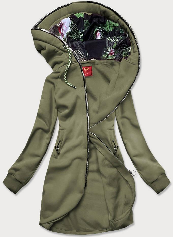 Dlouhá dámská mikina v khaki barvě s kapucí (AMG-855) khaki S (36)