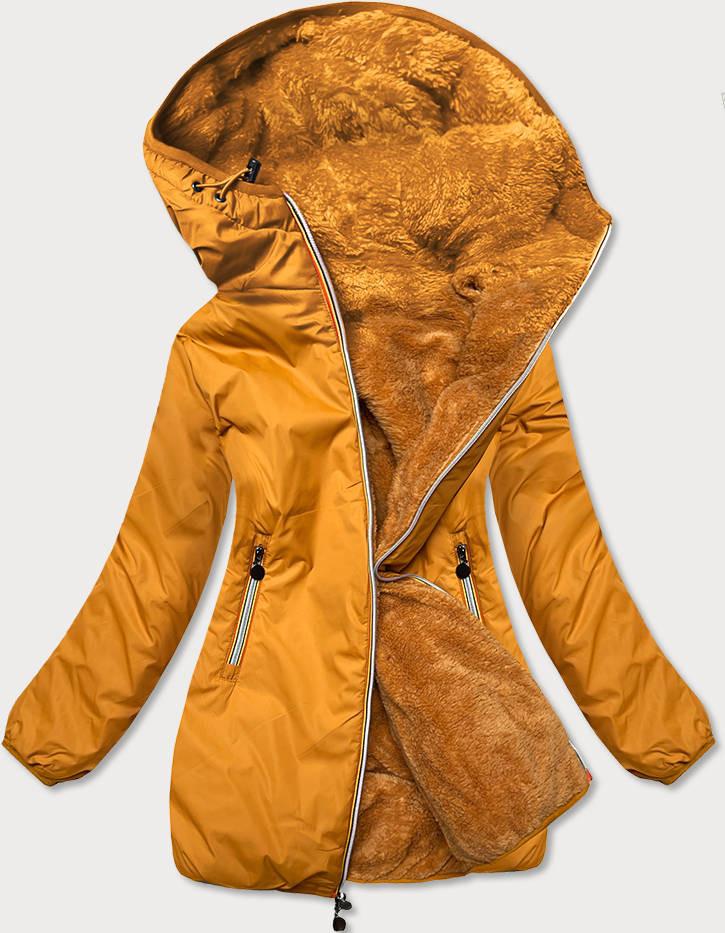 Dámska obojstranná bunda v horčicovej farbe (H1038-37) żółty S (36)