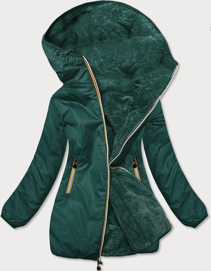 Dámska obojstranná bunda v zelenej farbe (H1038-26) zielony S (36)
