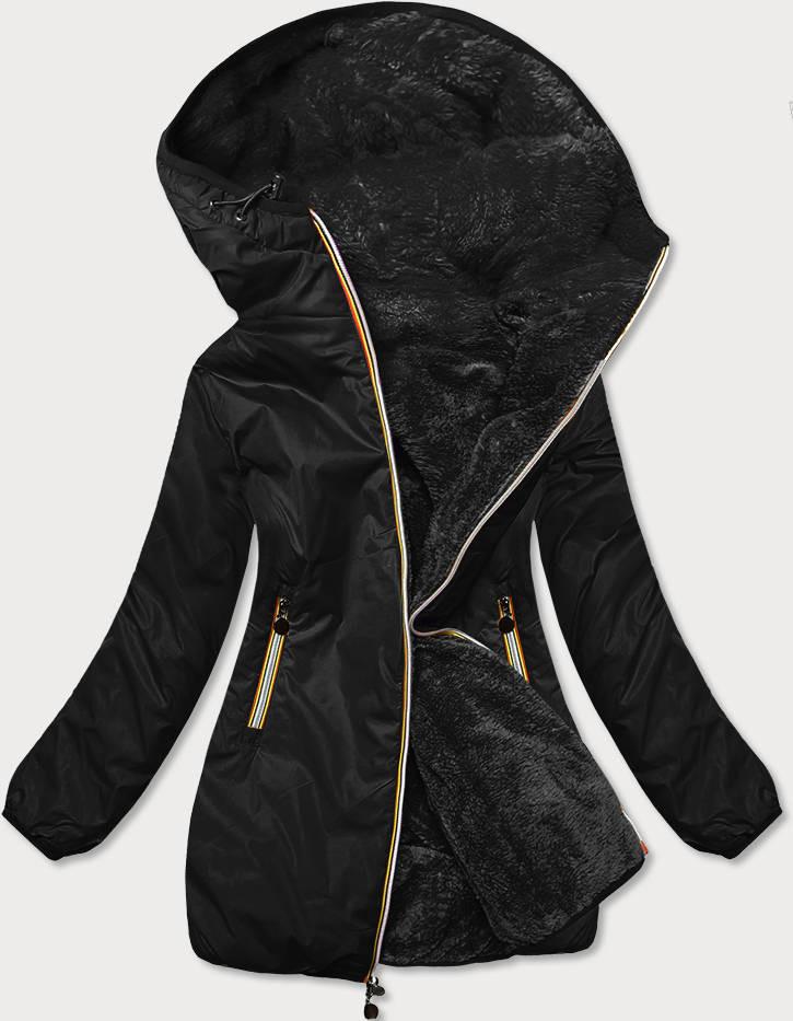 Obojstranná čierna dámska bunda (H1038-01) černá S (36)