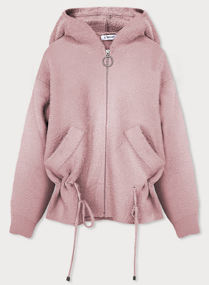 Dámska bunda a la ružová alpaka (B3007) różowy XXL (44)