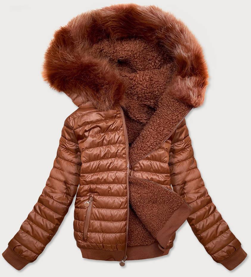Obojstranná krátka dámska zimná bunda v karamelovej farbe (H1032-79) brązowy S (36)