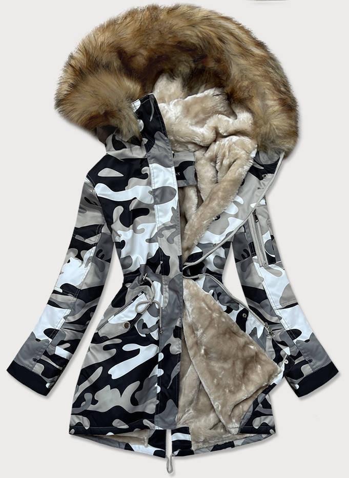 Šedá dámska maskáčová moro zimná bunda parka (B528-907) šedá S (36)