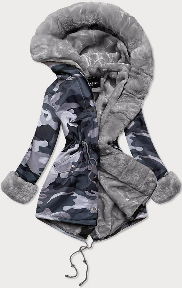 """Šedá dámska maskáčová """"moro"""" zimná bunda parka (B524-70070) šedá S (36)"""