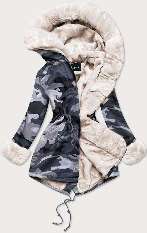 """Šedo-biela dámska maskáčová """"moro"""" zimná bunda parka (B524-70046) šedá S (36)"""