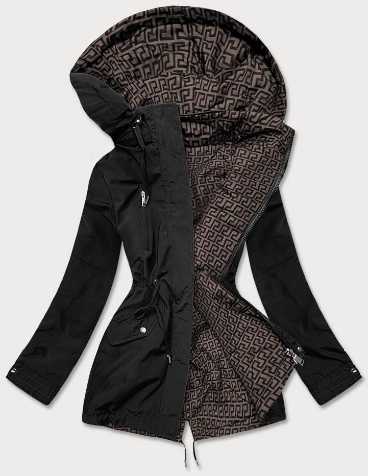 Čierno-hnedá obojstranná dámska bunda parka (W580) brązowy XL (42)