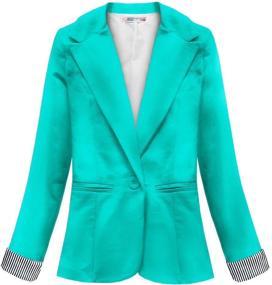 Bavlněné sako v mátové barvě (6097) zelená XL (42)