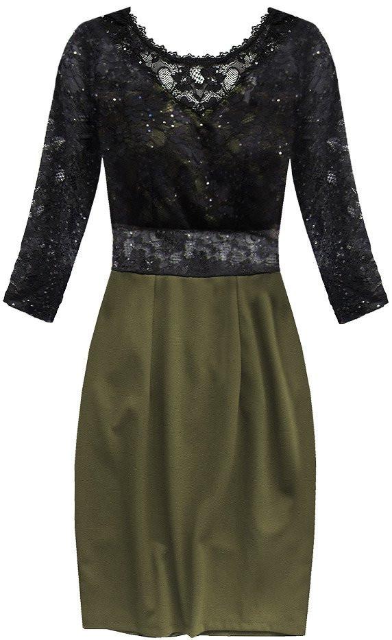 Šaty s výstřihem na zádech v černé a khaki barvě (88141) černá S (36)