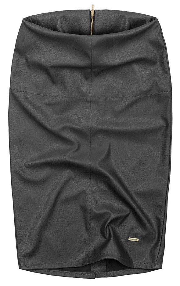 Černá tužková sukně z eko kůže (GOOD112) černá S (36)