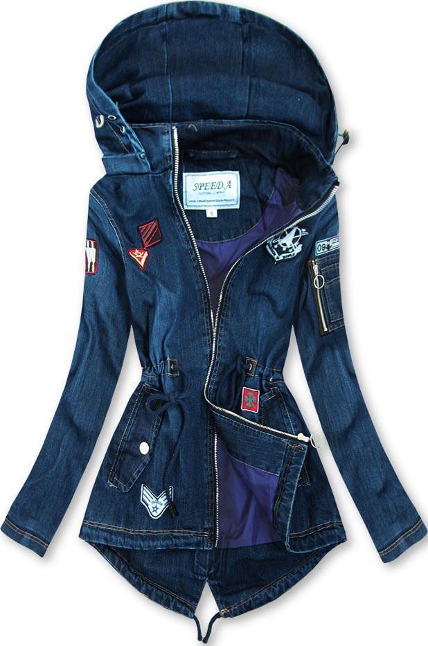 Tmavě modrá dámská džínová bunda (W523) tmavěmodrá XXL (44)