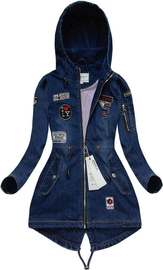 Tmavě modrá džínová bunda s nášivkami (W514) tmavěmodrá S (36)