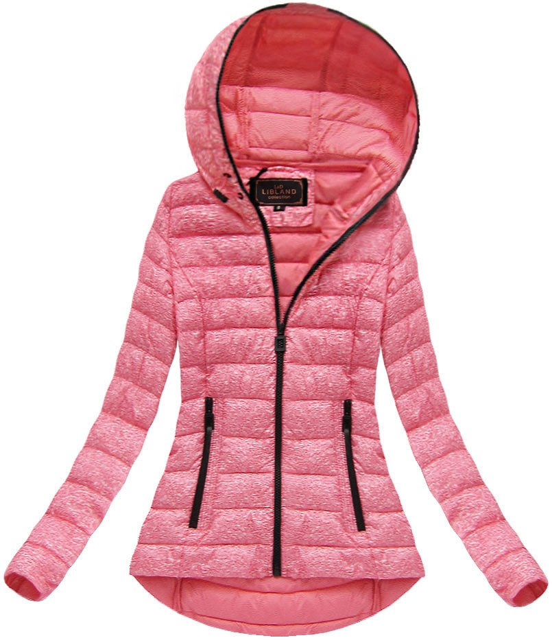Ružová dámska bunda s kapucňou (7149) różowy XXL (44)
